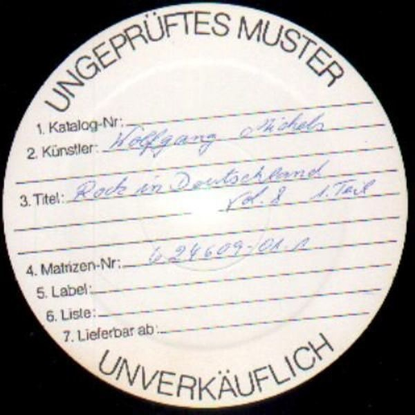 MICHELS, WOLFGANG MICHELS - Rock In Deutschland Vol 8 (WHITEL LABEL TEST PRESSING) - LP