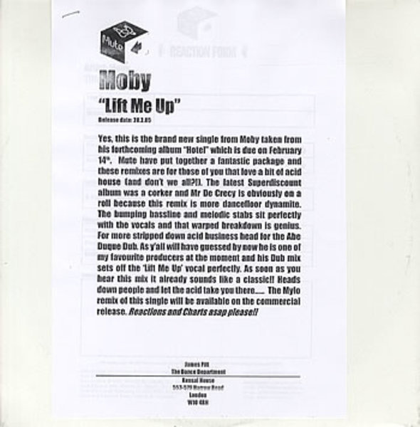 MOBY - Lift Me Up (PROMO) - 12 inch x 1