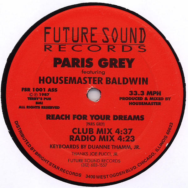 PARIS GREY FEATURING TERRY BALDWIN - Reach For Your Dreams - 12 inch x 1