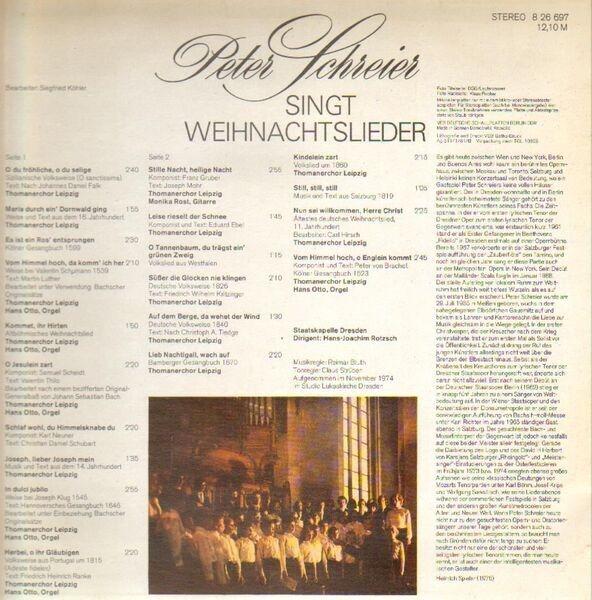 Top Weihnachtslieder.Peter Schreier Singt Weihnachtslieder By Peter Schreier Staatskapelle Dresden Hans Joachim Lp With Recordsale