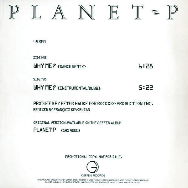 PLANET P, PLANET P PROJECT - Why Me? - 12 inch x 1