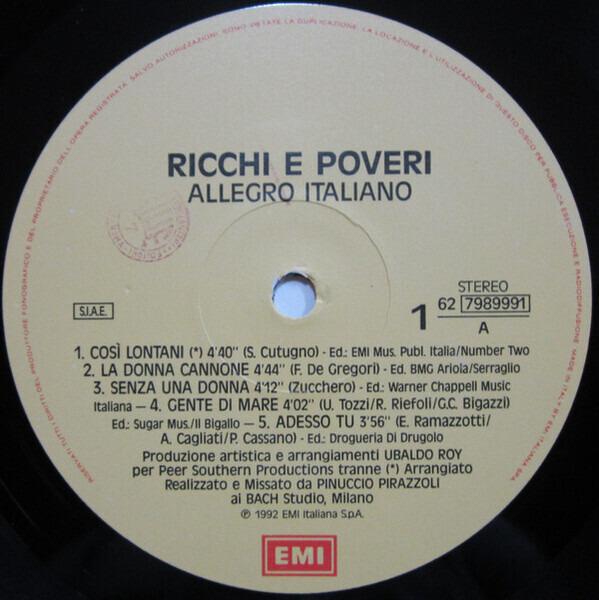 Ricchi E Poveri Allegro Italiano (STILL SEALED)