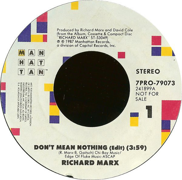 #<Artist:0x007efd268a4dd0> - Don't Mean Nothing