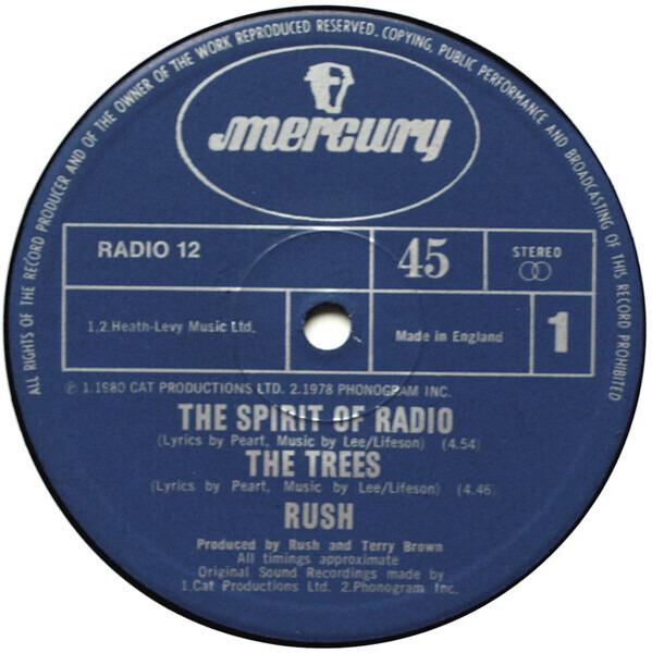 RUSH - Spirit Of Radio - 12 inch x 1