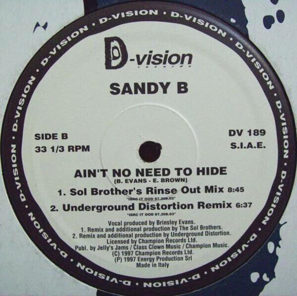 SANDY B - Ain't No Need To Hide - Maxi x 1