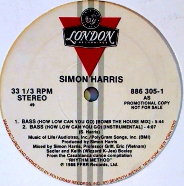 SIMON HARRIS - Bass (How Low Can You Go) (NON PICTURE COVER VERSION) - 12 inch x 1
