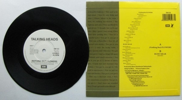 Talking Heads (Nothing But) Flowers (WHITE LABEL WITH BLACK TEXT)
