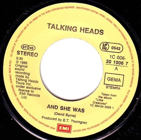 Talking Heads And She Was