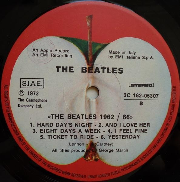 The Beatles 1962 - 1966, red album (italy)