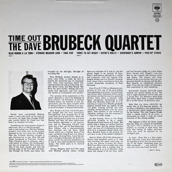 The Dave Brubeck Quartet Time Out Near Comme Neuf Cbs