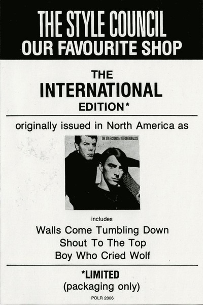 The Style Council our favourite shop (the international edition) (original  cover missing)