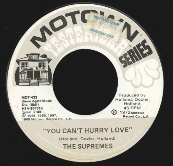 the supremes you can't hurry love / my world is empty without you