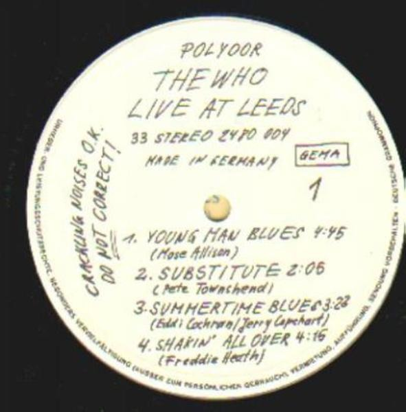 The Who Live At Leeds (INSERTS)