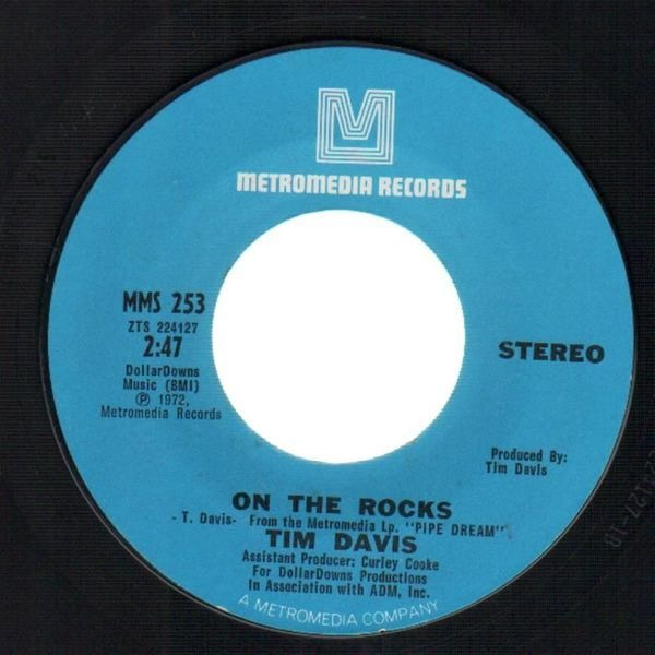 TIM DAVIS - On The Rocks / Buzzy Brown (BLUE-EYED NORTHERN SOUL) - 7inch x 1
