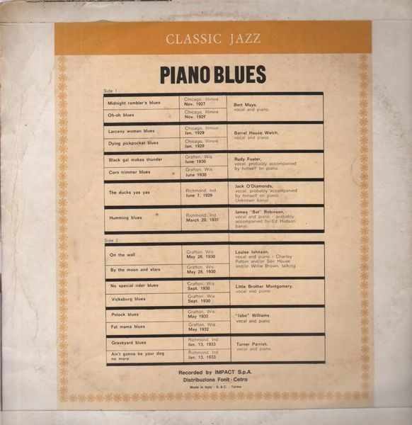 Various Piano Blues 1927-1933