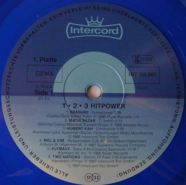 Mel & Kim / Erasure / James Brown a.o. 1..2..3... Hit-Power (BLUE TRANSPARENT VINYL)