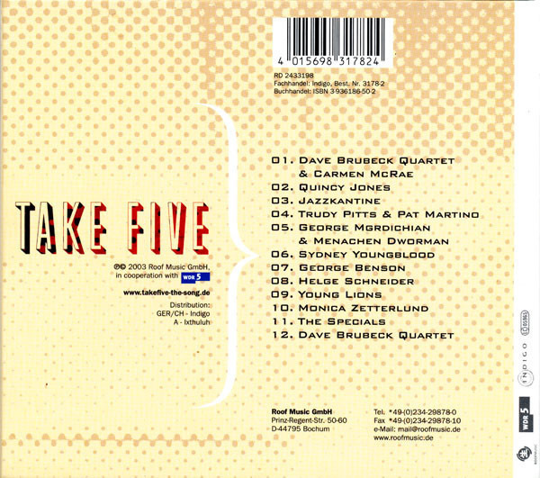 Quincy Jones / Young Lions / George Benson A Collection Of Various Interpretations Of Take Five (DIGIPAK)