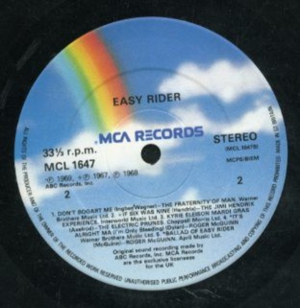 Jimi Hendrix, The Byrds, Steppenwolf Songs Performed In The Motion Picture Easy Rider