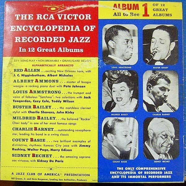 LOUIS ARMSTRONG, SIDNEY BECHET, COUNT BASIE - The RCA Victor Encyclopedia Of Recorded Jazz: Album 1 All To Bec - 25 cm