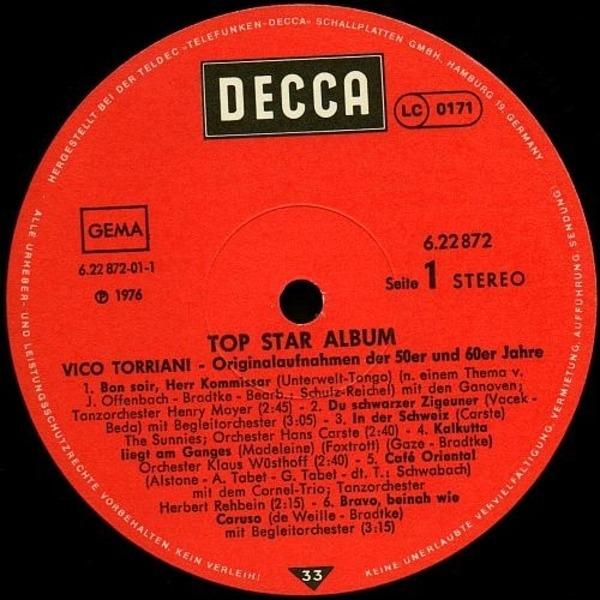 Vico Torriani 'Top Star Album' - Originalaufnahmen Der 50er Und 60er Jahre