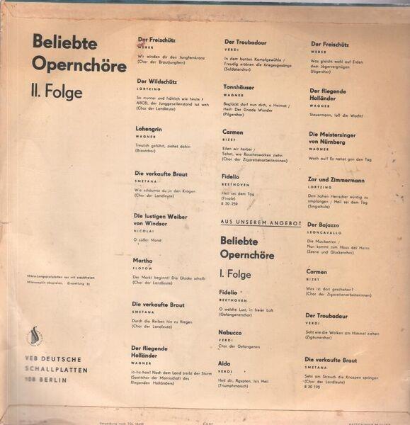 Weber, Lortzing, Wagner, Smetana, Nicolai, Flotow, Beliebte Opernchöre Folge 2 (BLUE/GREEN-WHITE LABEL)
