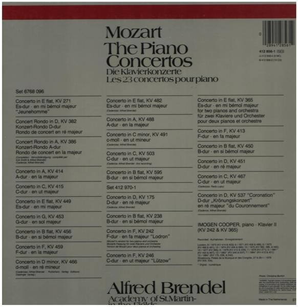 Mozart the piano concertos (hardcover box) by Wolfgang Amadeus Mozart -  Alfred Brendel, LP Box set with recordsale