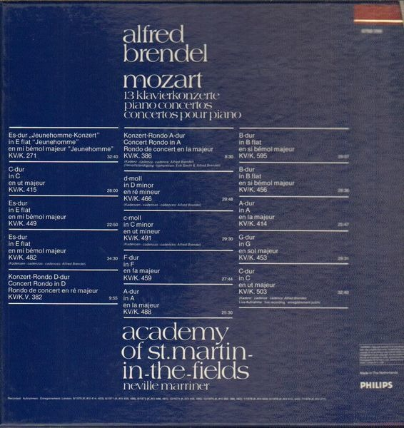 Wolfgang Amadeus Mozart/ Alfred Brendel , The Acad 13 Piano Concertos (BOOKLET)